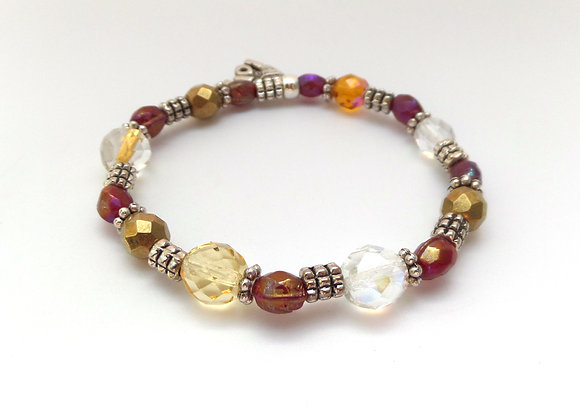 Tibetan Silver Stretch Bracelet, Fall Colours Glass & Elastic Bracelet