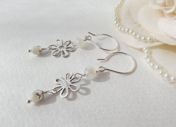 Long White Flower Earrings, Sterling Silver Dangle Earrings
