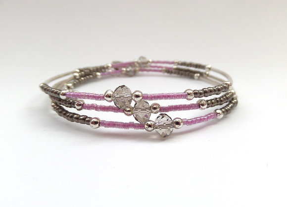 Grey Crystal Bracelet, Black Diamond and Pink Slim Memory Bangle