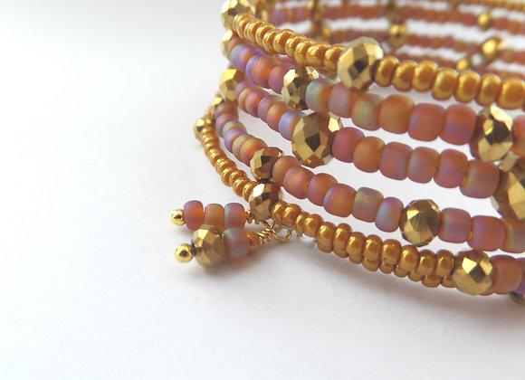 Gold & Burnt Orange Bangle/Bracelet Set