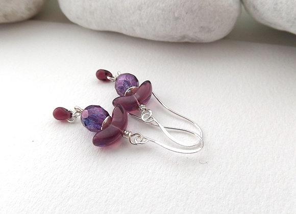 Wine and Purple Earrings, Silver Hook Fittings, dangle drops