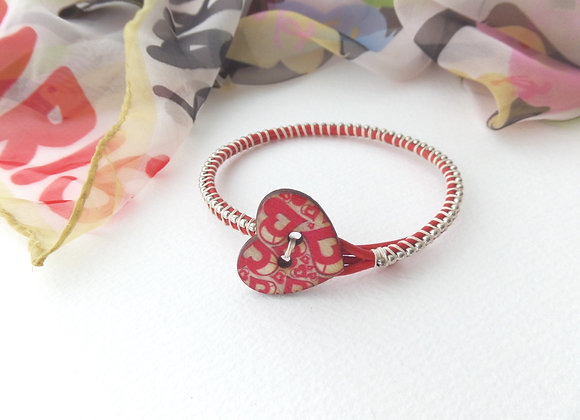 Red Leather Bracelet, Silver Beaded, Heart Clasp Bracelet