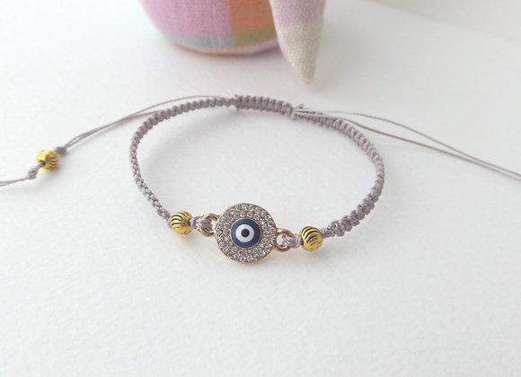 Macrame Gold Evil Eye Bracelet, Silver Grey Cord Bracelet, Tibetan Silver