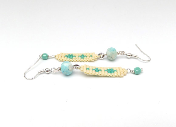 Turquoise and Cream Long Dangle Silver Earrings