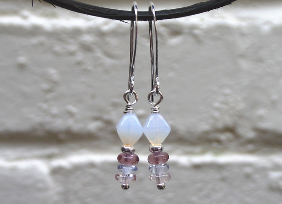 Opal Earrings, White and Quartz, Dangle Silver