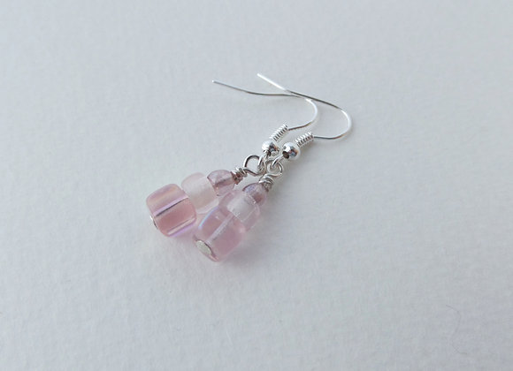Pale Pink and Silver Dangle Silver Earrings