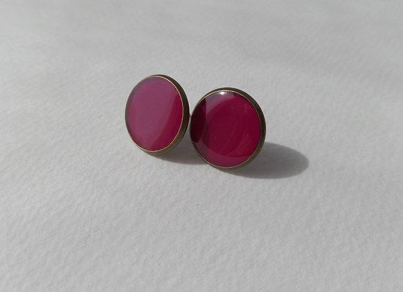 Deep Pink Studs, Dark Pink Antique Bronze Stud Earrings, 14mm studs
