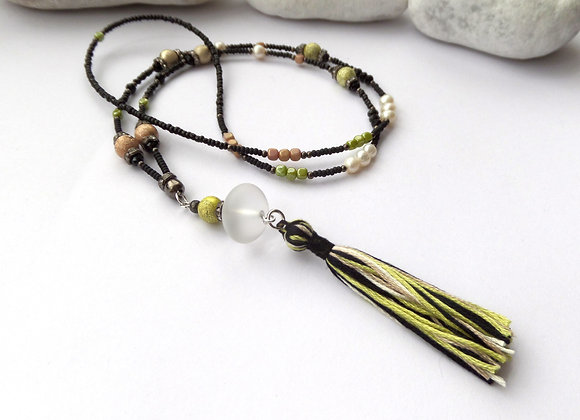Black and Lime Tassel Long Necklace