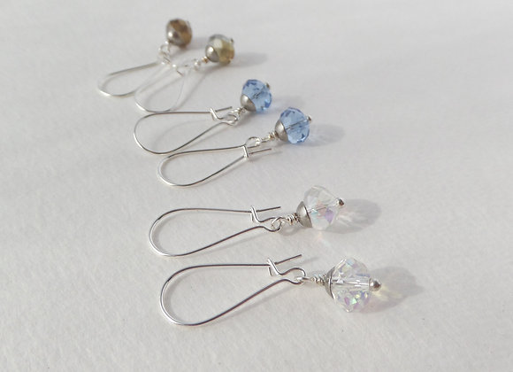 Crystal Earrings, Silver Kidney Hook, Silver Earrings
