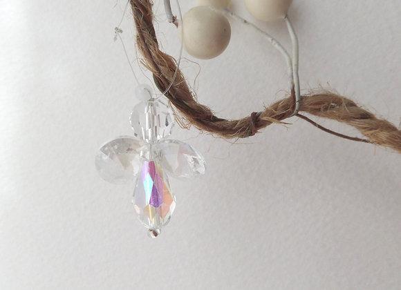Tree Decoration, Crystal Guardian Angel, Small hanging Angel