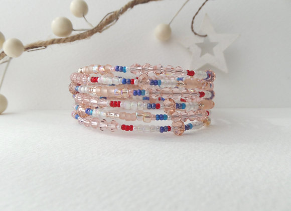 Peach Memory Bangle, Blue Red Crystal Beaded Bracelet