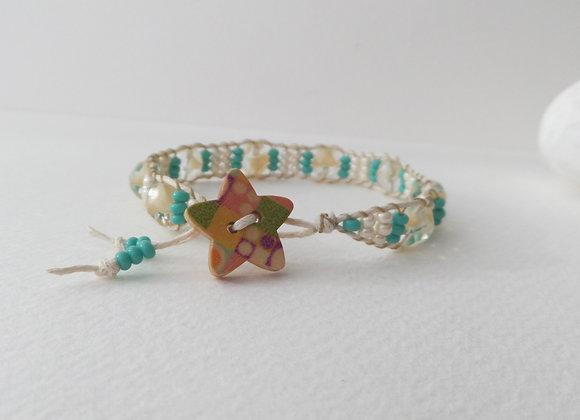 Cream and Turquoise Bracelet, Cotton Cord Bracelet
