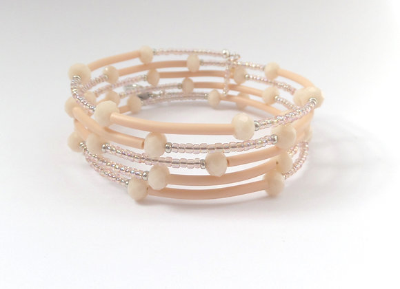 Nude and Peach Crystal, Silver Memory Bangle