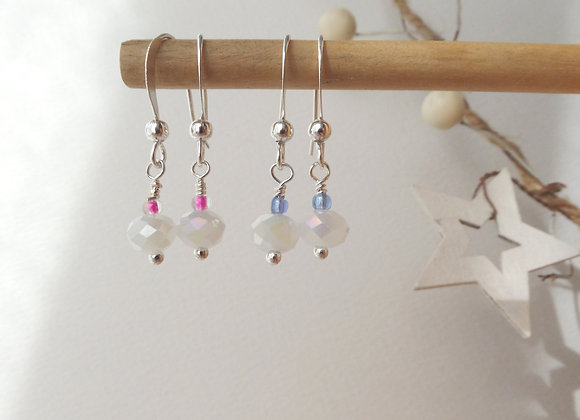 Colour Pop White Crystal Earrings, Dangle Silver Earrings