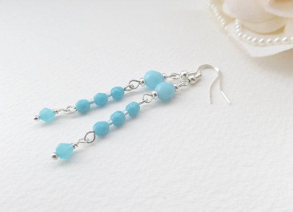 Opaque Turquoise Earrings, Blue Long Drop Dangle Silver Earrings