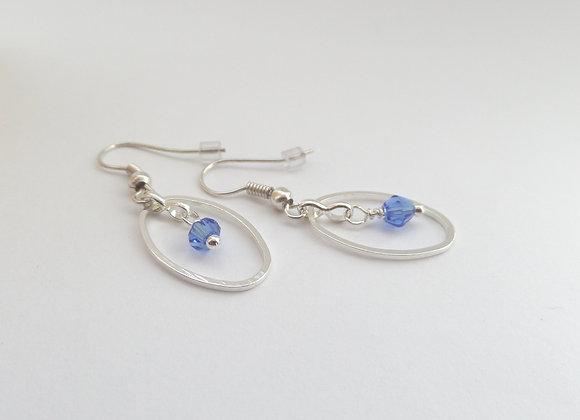 Blue Crystal Earrings, Sapphire Blue, Dangle Silver Earrings