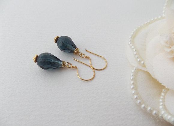 Dark Blue Crystal, Gold Earrings, Big crystals, Gold Vermeil dangle earrings