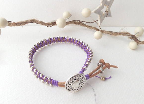 Natural Leather Bracelet, Purple macramé, Silver Clasp Bracelet