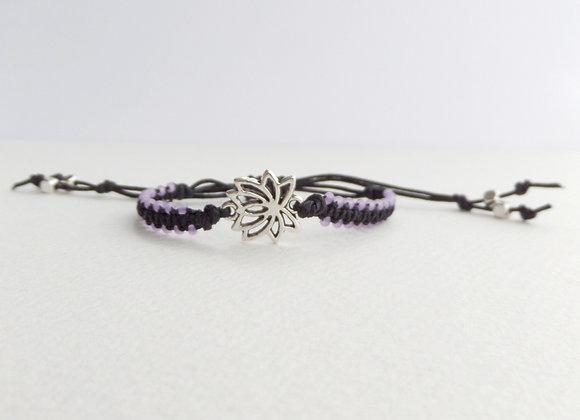 Antique Silver Lotus Flower Bracelet, Black Macrame Cord. Lilac Beaded