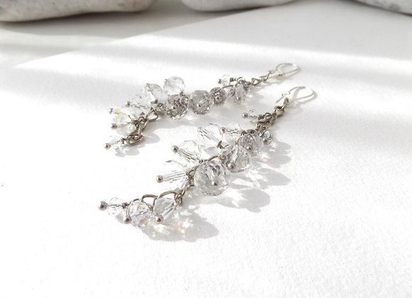 Clear Crystal Chain Dangle, Boho Bride Silver Earrings