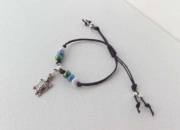Silver Turtle Bracelet, Black Cotton Cord Bracelet, Tibetan Silver