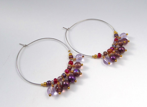 Purple Gold and Red Hoop Silver Earrings.
