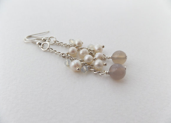 Stone and Pearl Earrings, Soft Brown Silver Neutral Earrings