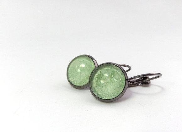 Green Earrings, Black Dangle Earrings
