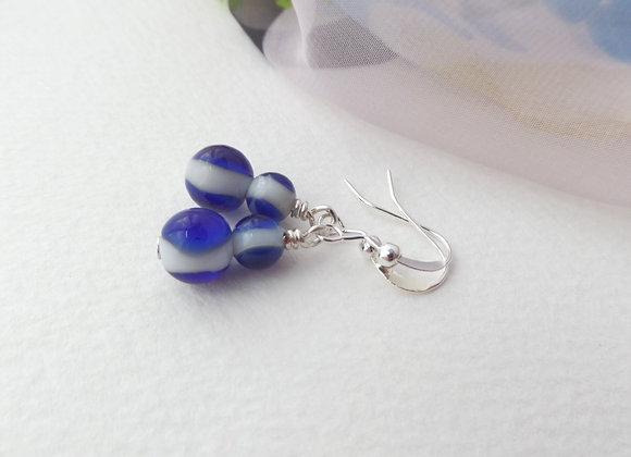 Blue and White Earrings, Silver Hook Earrings