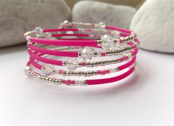 Hot Pink and Clear Crystal, Silver Memory Bangle