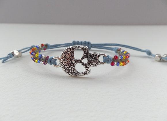 Sugar Skull Bracelet, Light Blue Cotton Cord Beaded Bracelet