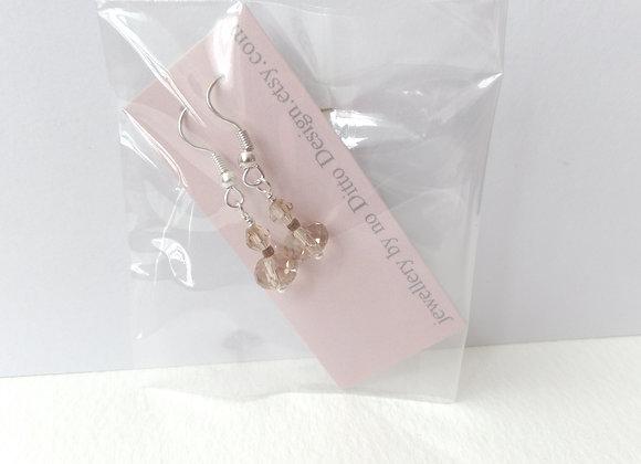 Topaz Double Earrings, Crystal Silver Dangle Earrings