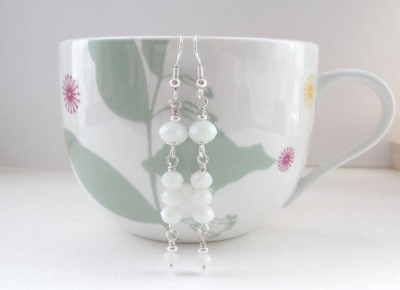 White Crystal Silver Earrings, Long Dangle Silver Earrings.