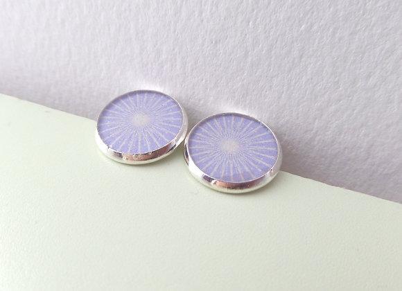 Lilac Silver Studs, Starburst, Purple Round Stud Earrings, half inch earrings