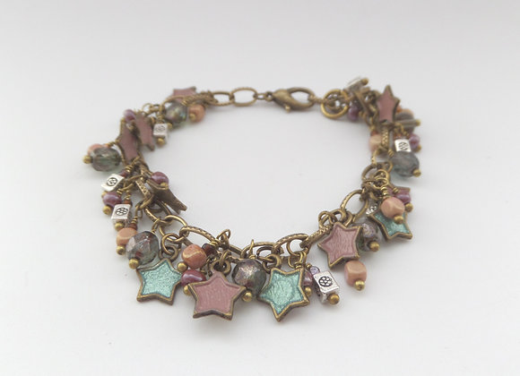 Taupe and Green Bracelet, Antique Bronze Beaded Clasp Bracelet