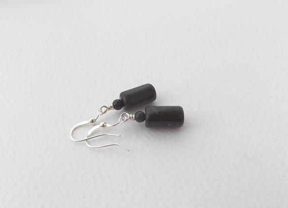 Black Tube Earrings, Drop Dangle Silver Earrings