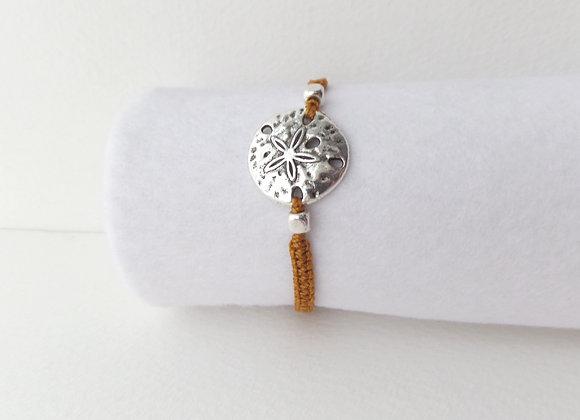 Silver Sand Dollar Bracelet, Tan Macrame, Delicate Cord Bracelet