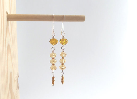 Amber Earrings, Caramel Silver Dangle Earrings