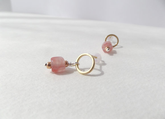 Peach Earrings, Gold Post Fittings, Dangle Earrings