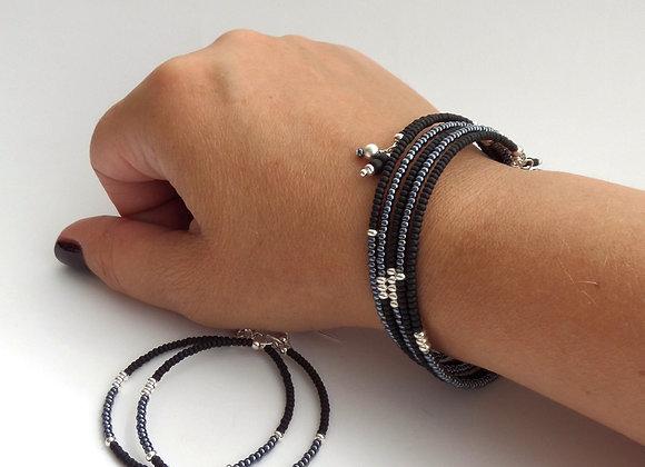 Black and Teal, Silver Pip Bangle/Bracelet Set