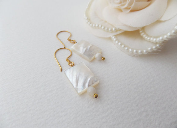 Mother Of Pearl Gold Earrings, Gold Vermeil Modern Dangle Earrings