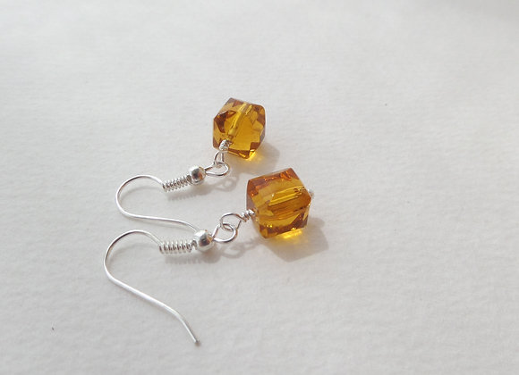 Amber-coloured Silver Earrings, Hook Fittings, dangle drops.