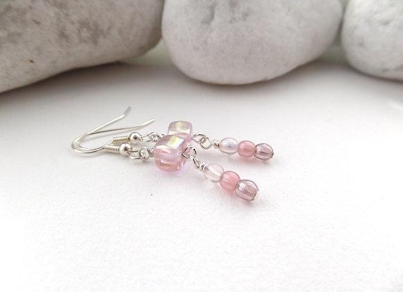 Light Pink Earrings, Czech Glass Dangle Silver Earrings