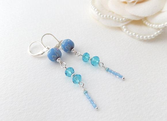 Long Turquoise Earrings, Crystal Dangle Silver Earrings
