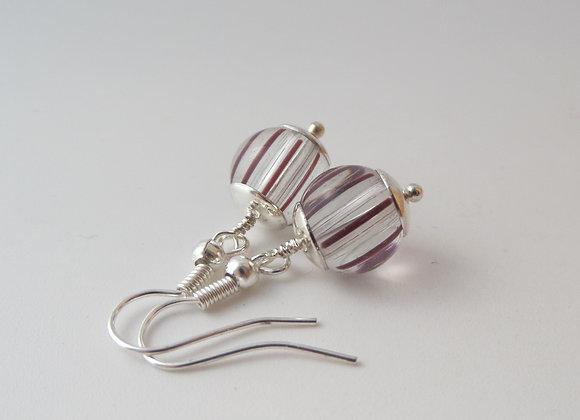 Clear Brown Stripe Earrings, Silver Hook, Dangle Silver Earrings