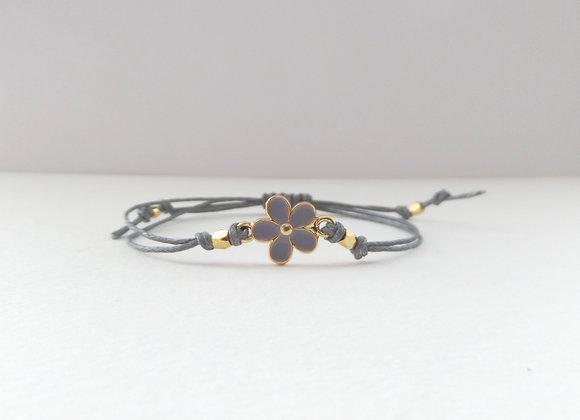 Gold Daisy Bracelet, Grey Enamel, Grey Cord Bracelet