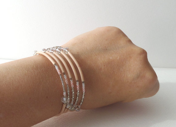 Peach and Clear Crystal, Silver Memory Bangle