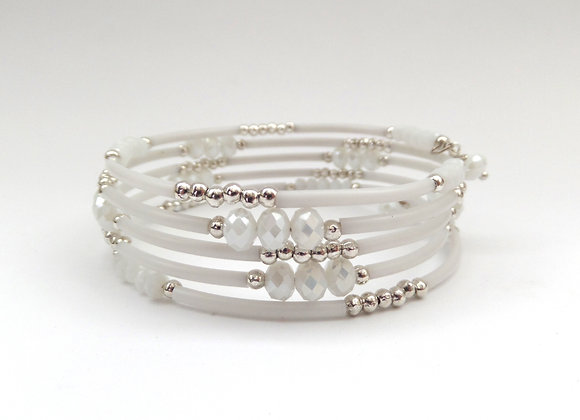 White Crystal and Silver Memory Bangle