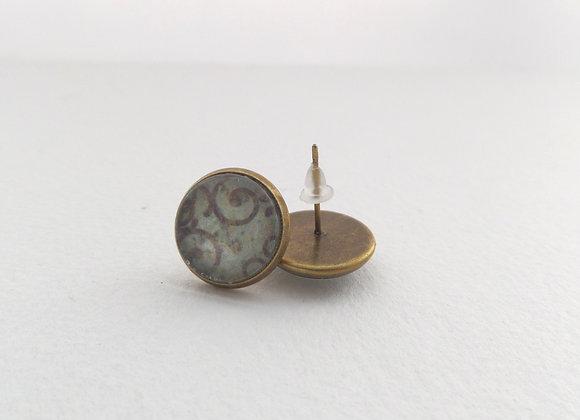 Antique Bronze Studs, Aqua Brown Round Stud Earrings, Half Inch Studs