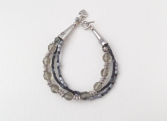 Khaki Grey Bracelet, Tibetan Silver Toggle Clasp Bracelet